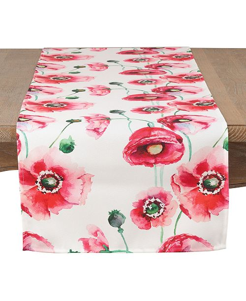 Saro Lifestyle Painted Poppies Table Runner
