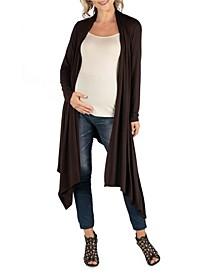 Long Sleeve Knee Length Open Maternity Cardigan