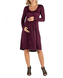 Knee Length Pleated Long Sleeve Maternity Dress