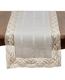 Poly Blend Table Runner with Embroidered Lace Design