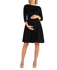 Knee Length Fit N Flare Maternity Dress with Pockets