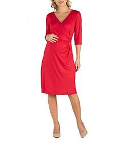 Three Quarter Sleeve Knee Length Maternity Wrap Dress