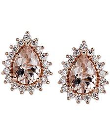 Morganite (1-1/2 ct. t.w.) & Diamond (1/3 ct. t.w.) Stud Earrings in 14k Rose Gold