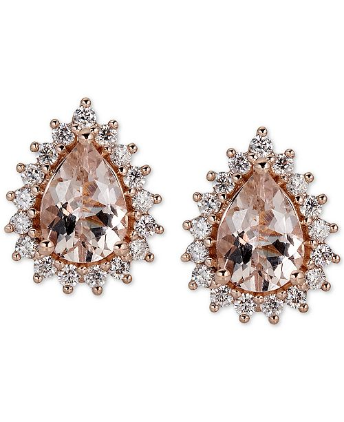 Macy's Morganite (1-1/2 ct. t.w.) & Diamond (1/3 ct. t.w.) Stud Earrings in 14k Rose Gold