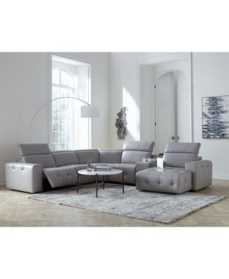 Haigan 5-Pc. Leather Chaise Sectional Sofa with 2 Power Recliners, Created for Macy's