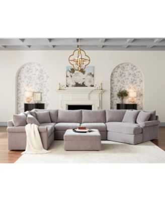 Wedport 4-Pc. Fabric Modular Chaise Sleeper Sectional Sofa with Square Corner Piece, Created for Macy's