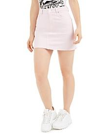 India Frayed-Hem Mini Denim Skirt