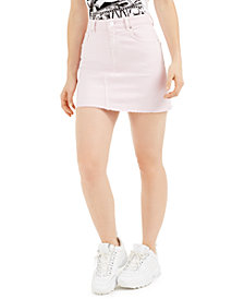 GUESS India Frayed-Hem Mini Denim Skirt
