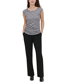 Ruched-Side Button-Trim Top
