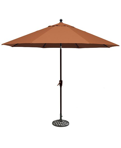 Furniture Chateau Outdoor 11' Push Button Tilt Umbrella with Base, Created for Macy's