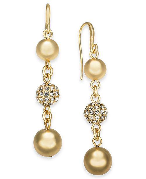 Charter Club Gold-Tone Pavé Fireball & Bead Drop Earrings, Created For Macy's