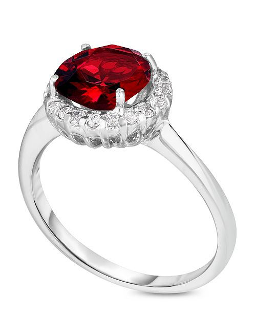 Macy's Simulated Birthstone Round Cubic Zirconia Halo Solitaire Ring in Fine Silver Plate