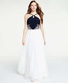 Juniors' Rhinestone Appliqué Gown