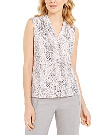 Snakeskin Print Sleeveless Top
