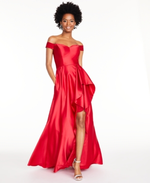 80s Dresses | Casual to Party Dresses Blondie Nites Juniors Off-The-Shoulder Satin Gown $99.99 AT vintagedancer.com