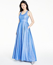 Juniors' Pleated Shine Gown