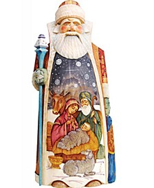 Woodcarved and Hand Painted Nativity Merchant Santa Claus Figurine