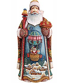 Woodcarved and Hand Painted Balloon Ride Santa Figurine