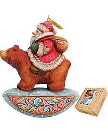 Santa On Bear Ornament