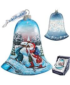 Santa On Ski Bell Glass Ornament