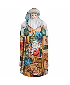 Woodcarved and Hand Painted Nativity Workshop Hand Painted Santa Claus Figurine