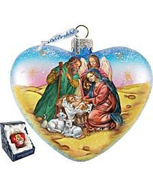 Nativity Heart Glass Ornament