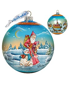Limited Edition Oversized Winter Village Christmas Ball Glass Ornament