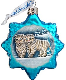 Santa White Tiger Cubs Glass Ornament