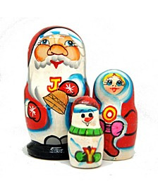 Joy Santa Family 3-Piece Russian Matryoshka Nested Doll Set