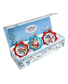 Santa Glass Ornament - Set of 3