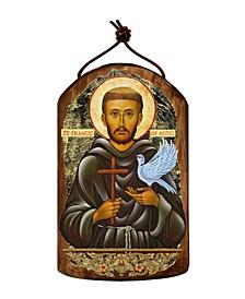 Saint Francis Wooden Greek Christian Orthodox Icon Ornament