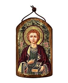 Saint Panteleimon Wooden Greek Christian Orthodox Icon Ornament
