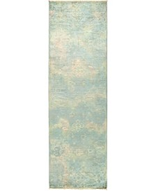 """CLOSEOUT! One of a Kind OOAK496 Green 3'1"""" x 10'2"""" Runner Rug"""