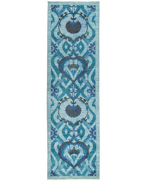 """Timeless Rug Designs CLOSEOUT! One of a Kind OOAK516 Turquoise 3'2"""" x 10'10"""" Runner Rug"""