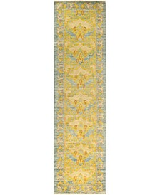 """CLOSEOUT! One of a Kind OOAK535 Yellow 2'6"""" x 9'10"""" Runner Rug"""