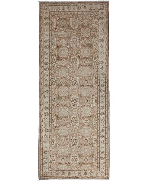 "Timeless Rug Designs CLOSEOUT! One of a Kind OOAK3454 Mocha 4'2"" x 10'9"" Runner Rug"
