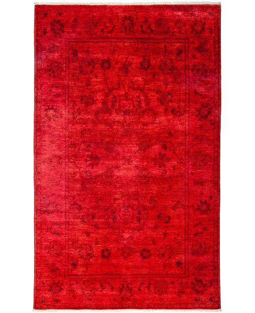 """Timeless Rug Designs CLOSEOUT! One of a Kind OOAK3160 Red 5'1"""" x 8'2"""" Area Rug"""