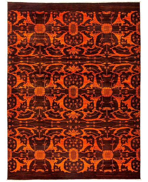 "Timeless Rug Designs One of a Kind OOAK3090 Tangerine 9'1"" x 12' Area Rug"