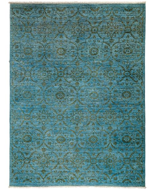 "Timeless Rug Designs CLOSEOUT! One of a Kind OOAK3108 Teal 4'10"" x 6'8"" Area Rug"