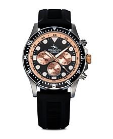 Men's Typhoon Nautical Sport Black Silicone Performance Timepiece Watch 45mm