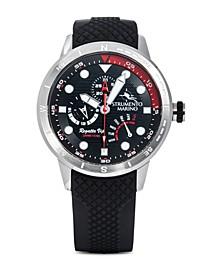 Men's Regatta VIP Day Retrograde Black Silicone Performance Timepiece Watch 46mm
