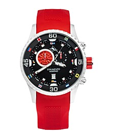 Men's Porto Cervo Professional Regatta Red Silicone Performance Timepiece Watch 47mm