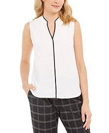 Sleeveless Piped Shell Top