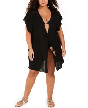 Plus Size Solid Globe Trotter Cover-Up Kimono Women's Swimsuit