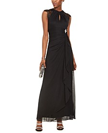 Lace-Sleeve Drape-Front Gown