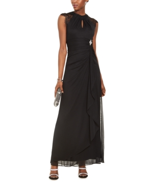 Vintage Evening Dresses and Formal Evening Gowns Betsy  Adam Lace-Sleeve Drape-Front Gown $119.00 AT vintagedancer.com