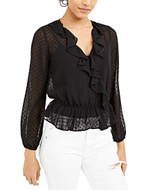 Swiss-Dot Sheer Surplice Top, Created For Macy's