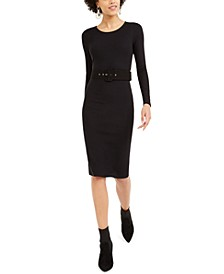 Belted Knit Sheath Midi Dress, Created For Macy's