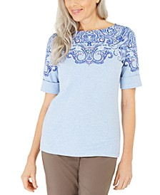 Petite Printed Cuffed-Sleeve Top, Created for Macy's