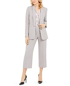 Twill Open-Front Jacket, Printed Top & Ankle Pants